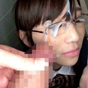 【眼鏡ぶっかけエロ画像】メガネ女子のレンズめがけてザーメン発射!(17枚)